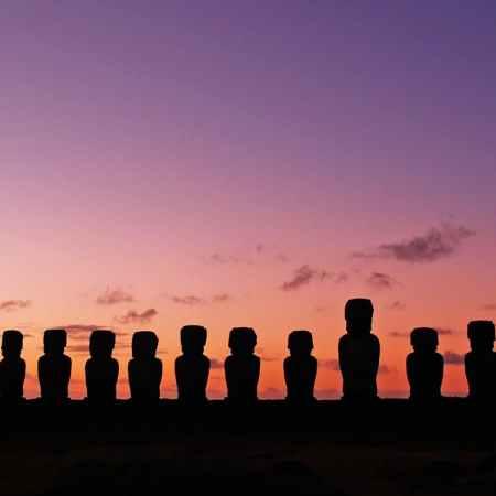 panoramic shot of moai during sunset